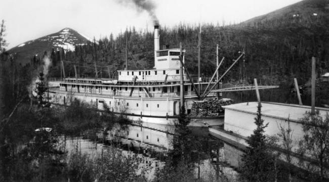 Nenana with a barge,